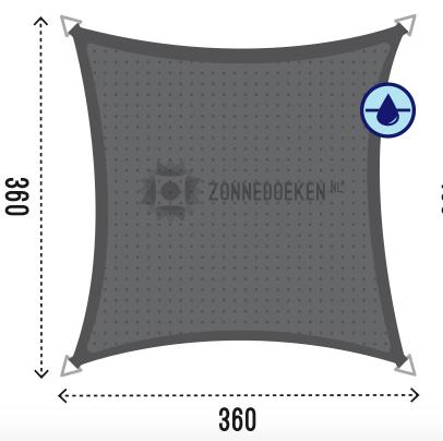 Vierkant 360 x 360 antraciet WD